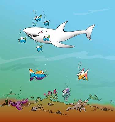 Haie und kleine fische c 39 t for Kleine fische