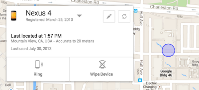 Screenshot vom Android Device Manager
