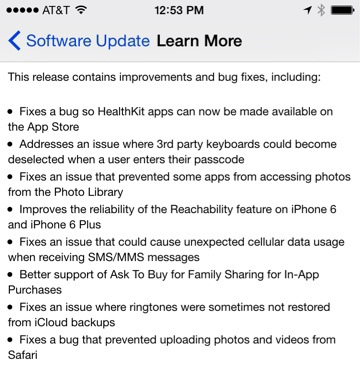 iOS 8.0.1-Update, hier in der US-Version.