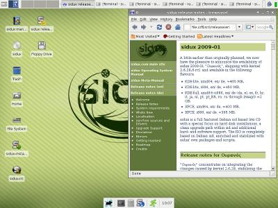 Sidux 2009-01 mit dem schlanken Desktop XFCE