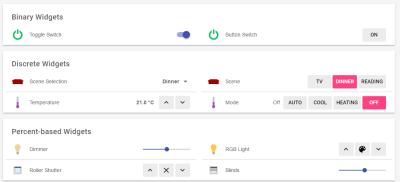 Der Demoserver zeigt unter anderem verschiedene Widgets zum Steuern an.