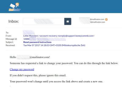 E-Mail zum Little-Monsters-Passwort-Reset im Mailinator-Konto