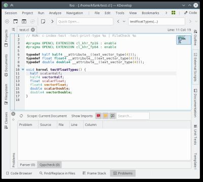 KDevelop erkennt OpenCL-Code und hebt ihn farblich hervor.