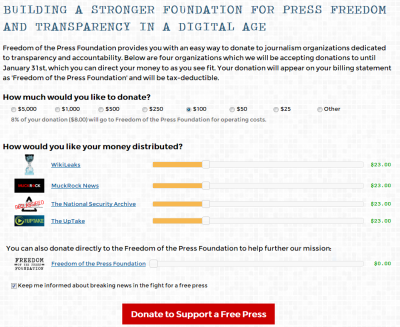 Die Spenden-Seite der Freeodom of Press Foundation