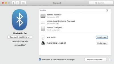 Bluetooth-Einstellungen Mac
