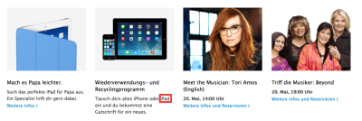 Screenshot Apple Retail Deutschland