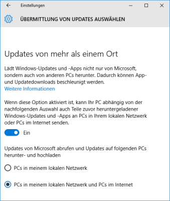 Windows 10 lädt Updates via Filesharing