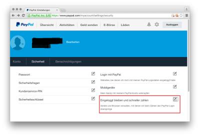Paypal erlaubt Bezahlen ohne Passwort