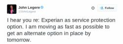 "Legere-Tweet: ""I hear you re: Experian as service protection option. I am moving as fast as possible to get an alternate option in place by tomorrow."""