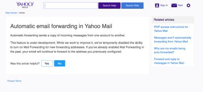 Yahoo Mail Weiterleitung