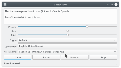 Die Beispielanwendung gibt dem Nutzer die Kontrolle über die Parameter des Sprachsynthesemoduls.