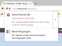 Fehlt bei einem Log-in HTTPS, blendet Firefox eine kleine Warnung in der Adressleiste ein.