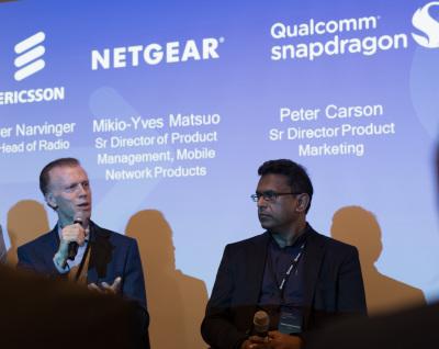 Podiumsdiskussion: Qualcomms Peter Carson (links) erläutert zusammen mit Chana Senevirante die Einsatzgebiete der Gigabit-LTE-Technik.