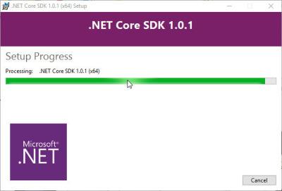 Die Versionsnummer bei der Installation von .NET Core SDK 1.0 (dotnet-1.1.1-sdk-win-x64.exe) ist verwirrend.