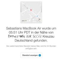Per E-Mail erfährt Schroer vom Standort seines MacBooks.