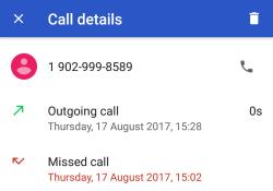 Anzeige eines verpassten Anrufs und einer 0-Sekunden-Rückrufs