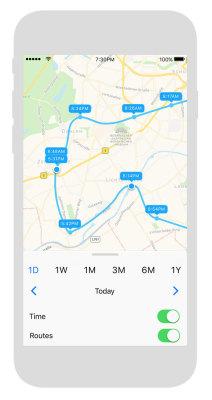 In der zugehörigen App kann der Standortverlauf des Trackers nachvollzogen werden.