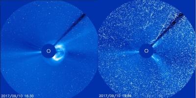 Kurz nach dem Ausbruch, bei dem die Sonne große Mengen Materie ins All schleudert (Bild links) rufen hochenergetische Protonen starke Bildstörungen hervor (Bild rechts).