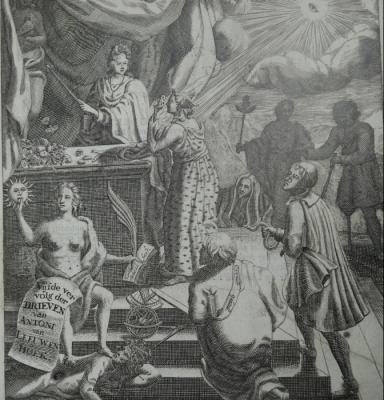 Titelseite der Ausgabe von Leuwenhoeks Briefen,  anno 1696.
