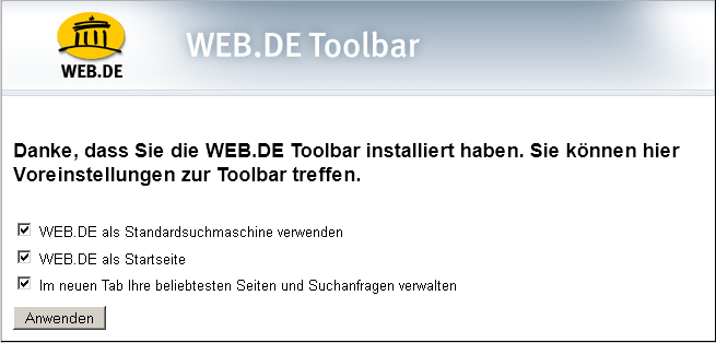 Toolbar, Installationsmeldung